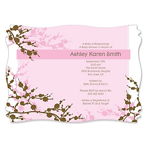 Baby Cherry Blossom - Personalized Baby Shower Invitations