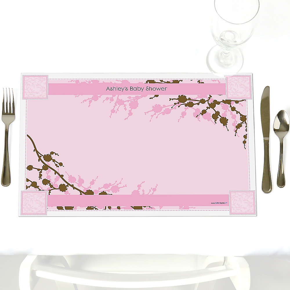 Baby Cherry Blossom - Personalized Baby Shower Placemats ...
