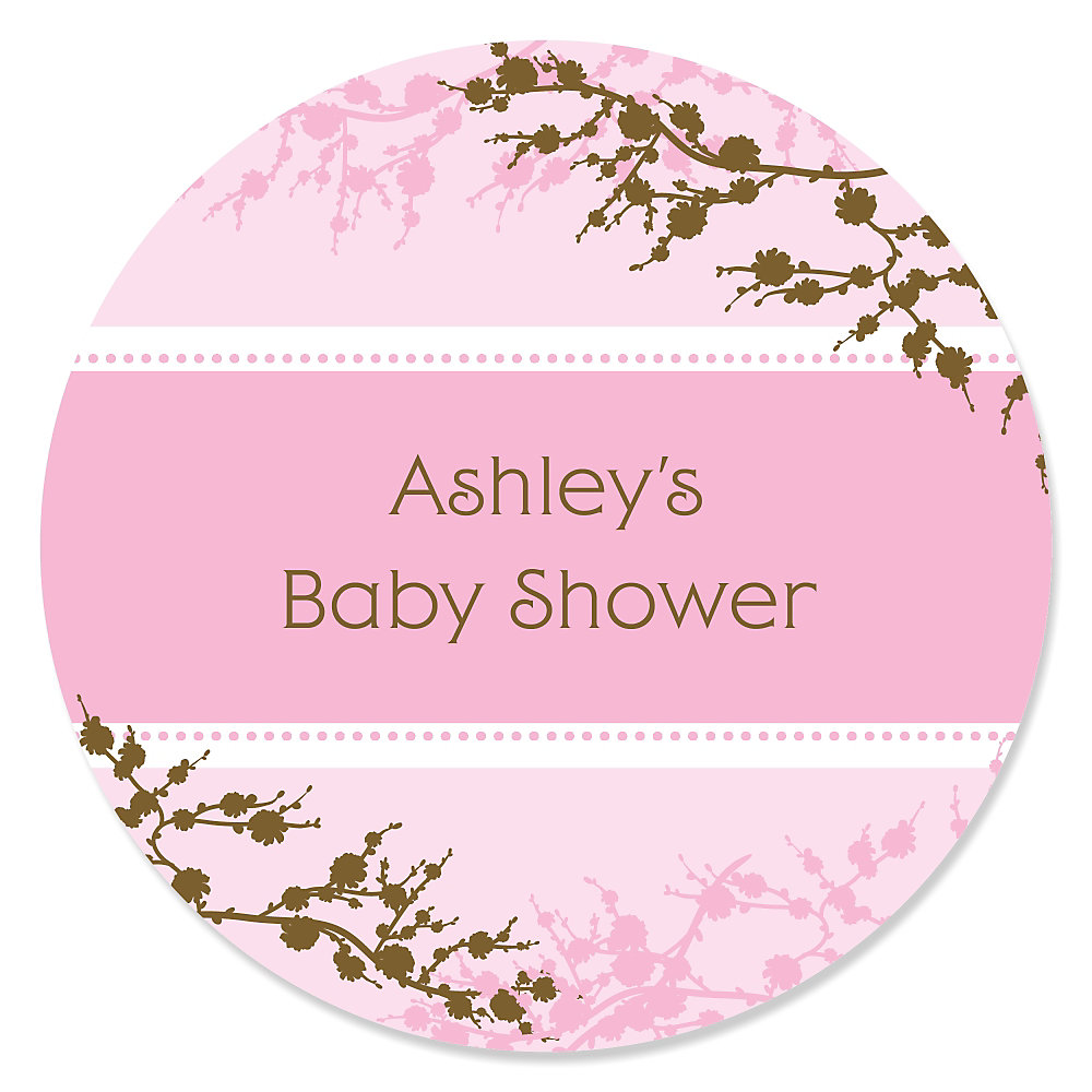 Baby Cherry Blossom   Personalized Baby Shower Sticker Labels   24 Ct
