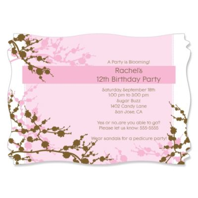 Cherry Blossom Personalized Birthday Party Invitations