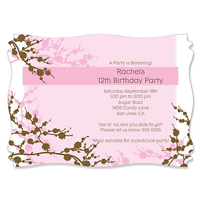 Cherry Blossom Personalized Birthday Party Invitations – Pedicure Party Invitations