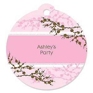 Cherry Blossom - Round Personalized Party Tags - 20 ct
