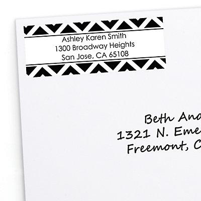 chevron black and white personalized baby shower return address