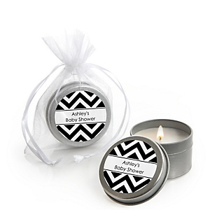 Black and White Chevron - Candle Tin Personalized Baby Shower Favors