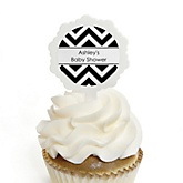 Chevron Black and White - 12 Cupcake Picks & 24 Personalized Stickers - Baby Shower Cupcake Toppers
