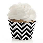Chevron Black and White - Baby Shower Cupcake Wrappers & Decorations