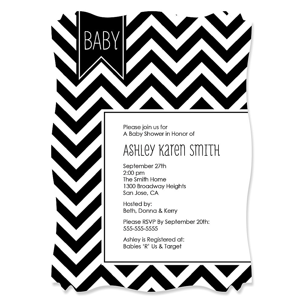 Chevron Black and White - Personalized Baby Shower Invitations ...
