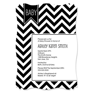 Chevron Black and White - Personalized Baby Shower Invitations