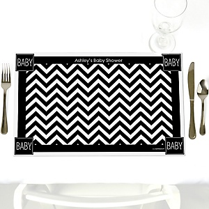 Chevron Black and White - Personalized Baby Shower Placemats