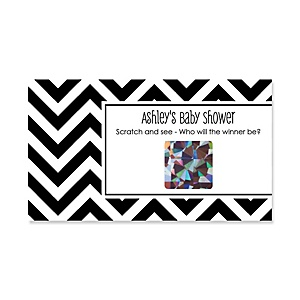 Chevron Black and White - Personalized Baby Shower Game Scratch Off Cards - 22 ct