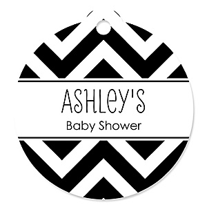 Chevron Black and White - Round Personalized Baby Shower Tags - 20 ct