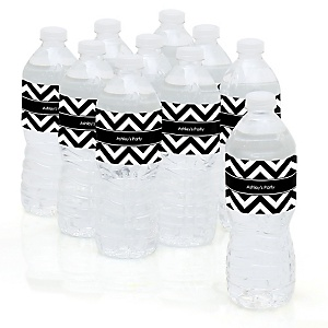 Chevron Black and White - Personalized Party Water Bottle Sticker Labels - Set of 10
