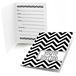 Chevron black and white birthday party theme bigdotofhappiness chevron black and white birthday party fill in invitations 8 ct filmwisefo