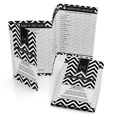 chevron black and white personalized bridal shower games pack 5 games in 1 fabulous 5 set of 12 bigdotofhappinesscom