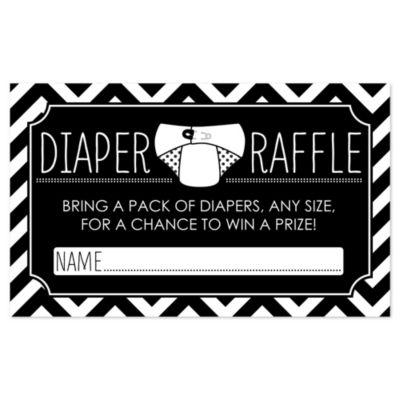 Chevron Black And White   Diaper Raffle Baby Shower Game   18 Ct