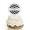 Chevron Black and White - Personalized Everyday Party Cupcake Pick and Sticker Kit - 12 ct