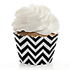 Chevron Black and White - Everyday Party Cupcake Wrappers & Decorations