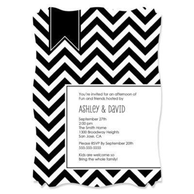 Chevron Black and White Personalized Everyday Party Invitations