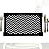 Chevron Black and White - Personalized Everyday Party Placemats