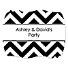 Chevron Black and White - Personalized Everyday Party Squiggle Stickers - 16 ct