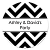 Chevron Black and White - Personalized Everyday Party Sticker Labels - 24 ct