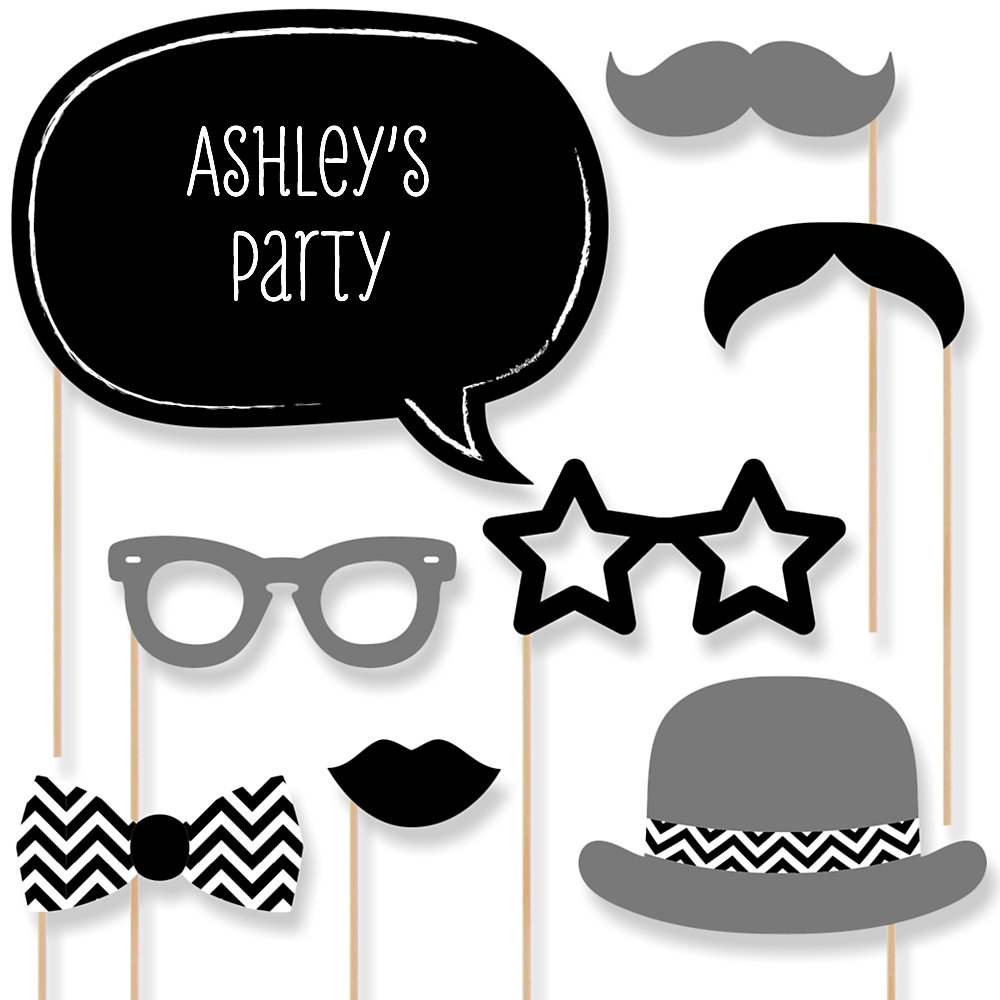 Black And White Chevron   Baby Shower Photo Booth Props Kit   20 Props