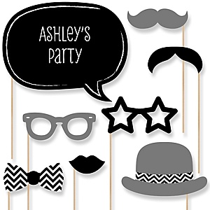 Black and White Chevron - Baby Shower Photo Booth Props Kit - 20 Props