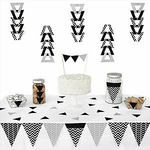 Chevron Black And White 72 Piece Triangle Party Decoration Kit