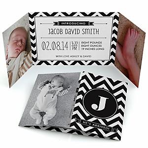Chevron Black and White - Photo Birth Announcements