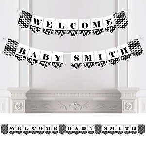 Black and White Chevron - Personalized Baby Shower Bunting Banner