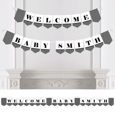 Chevron Black And White   Personalized Baby Shower Bunting Banner U0026  Decorations