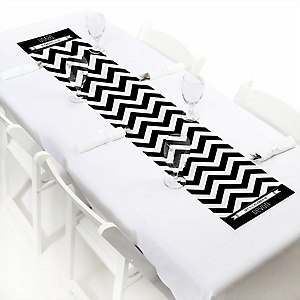 Chevron Black and White - Personalized Party Petite Table Runner