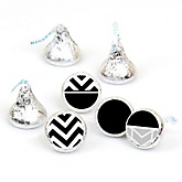 Chevron Black and White - Round Candy Labels Party Favors - Fits Hershey's Kisses - 108 ct