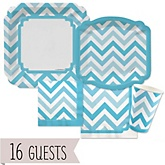 Chevron Blue - Baby Shower 16 Big Dot Bundle