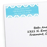Blue Chevron - Personalized Baby Shower Return Address Labels - 30 ct