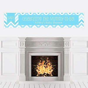 Chevron Blue - Personalized Baby Shower Banners