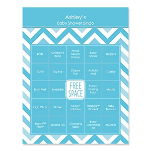 Blue Chevron - Bingo Personalized Baby Shower Games - 16 Count
