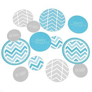 Chevron Blue - Personalized Baby Shower Table Confetti - 27 ct