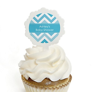 Chevron Blue - 12 Cupcake Picks & 24 Personalized Stickers - Baby Shower Cupcake Toppers