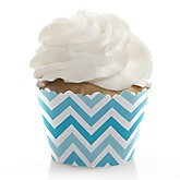 Chevron Blue - Baby Shower Cupcake Wrappers & Decorations