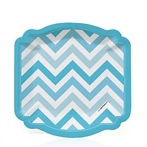 Chevron Blue - Baby Shower Dessert Plates - 8 ct