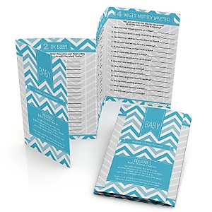 Chevron Blue - Personalized Baby Shower Fabulous 5 Games