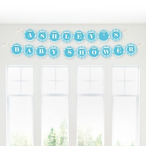 Chevron Blue - Personalized Baby Shower Garland Letter Banners