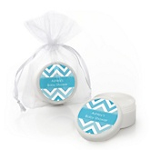 Chevron Blue - Personalized Baby Shower Lip Balm Favors