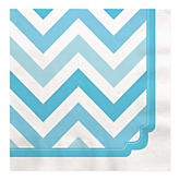 Chevron Blue - Baby Shower Luncheon Napkins - 16 ct