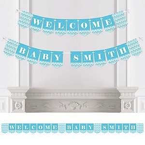 Chevron Blue - Personalized Baby Shower Bunting Banner & Decorations