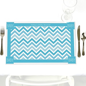 Chevron Blue - Personalized Baby Shower Placemats