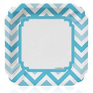 Chevron Blue - Baby Shower Dinner Plates - 8 ct