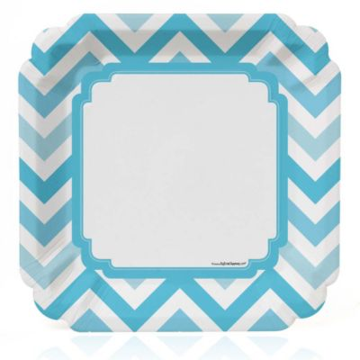Chevron Blue   Baby Shower Dinner Plates   8 Ct