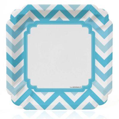 Chevron Blue   Baby Shower Dinner Plates   8 Ct